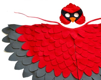 Childrens Red Cardinal Costume  Kids Christmas Bird Wings and Mask Kids Dress up Toy, Gift for Girls and Boys, Toddlers