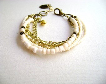 Bohemian stacking bracelet - My charm -  delicate romantic boho chic ivory gold chains stack bracelet etsy fashion