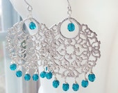 Silver Chandelier Earrings Bridal Bollywood Turquoise Filigree by MinouBazaar