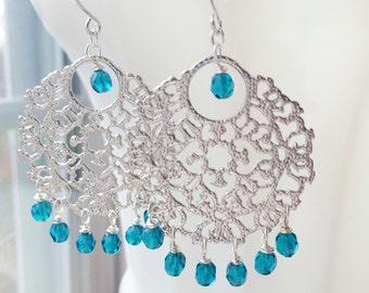 Silver Chandelier Earrings Bridal Bollywood Turquoise Filigree by MinouBazaar