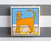 Orange Cat Refrigerator Magnet Orange Tabby large size featuring original artwork