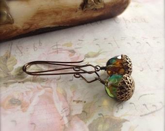 Acorn Dangle Earrings Green Burnt Amber Topaze - Druid Mystery