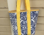 Small Monet retro oilcloth tote bag for children and adults in inky blue toile and yellow gingham