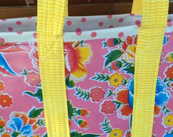 Large reversible  floral oilcloth tote bag on bright pink