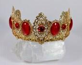 Renaissance Crown Medieval Crown Ruby and Gold Aurora Filigree Tiara Game of Thrones Tudor