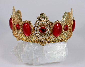 Renaissance Crown Medieval Crown Ruby and Gold Aurora Filigree Tiara Game of Thrones Tudor
