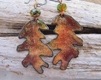 Redwood Forest colored Enamel Copper Earrings