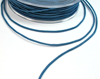 Wrapped silk cord, thin satin rope 1.5mm, light blue, 3 meters