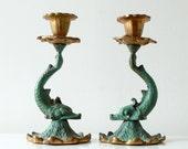 Vintage Decorative Dragon Fish Metal Candlestick Holders - Ser of 2