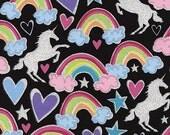 Matches TULA Baby Carrier Dear Diary Timeless Treasures Fabric Glitter Metallic Rainbows Unicorns and Hearts on Black