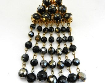 1950 Cascading Dangle  italian glass beads Brooch - Gorgeous art glass beads in black and gold - Art.582/3---
