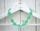 Antique Molded Glass Green Beaded Necklace . Large Ovals . Czech Glass
