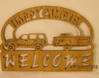 POP UP CAMPER And Suv Welcome Happy Camper  Scroll Saw Plaque