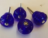 Glass Knobs Cobalt Apothecary Blue Glass Drawer Pulls Set of 4 Manhattan Barrel Chrome or Brass Centers Also Available