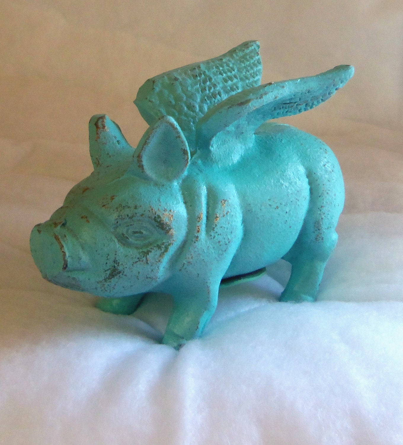 Flying Pig When Pigs Fly Cast Iron Piggy Bank Aqua Distressed