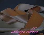 Vintage ribbon French velvet cotton w silk 2 1/4 inch peach