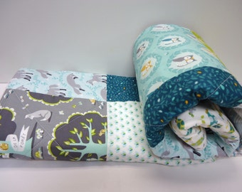 Baby Boy  Quilt, Modern Baby Quilt, Owl Quilt, Fox Quilt, Les Amis, Polyester Free
