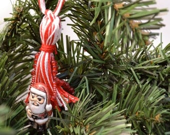 Red and White Christmas Ornament Beaded Tassel with Santa