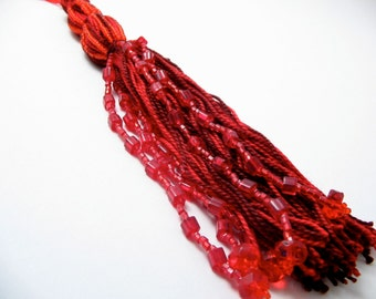 Red Hanging Tassel Wall Decor: 7 Inch Tiered Beaded Tassel