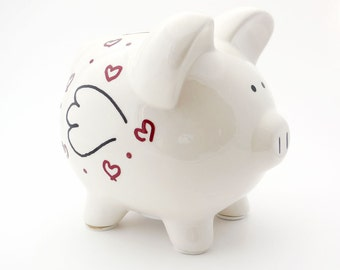 Piggy Bank with Wings & Hearts, Pigs Can Fly Ceramic
