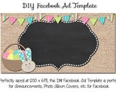 DIY Easter Facebook Ad Graphic ~ Burlap Easter ~ 1200 x 628 Instant Download Facebook and Etsy Sets Also Available