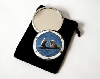 """Set Sail, Cottontail - Pocket Mirror - 2.25"""" with Velvet Pouch"""