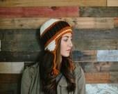 Earflap hat, beanie, crochet earflap hat, women, men, teen, unisex, orange, brown, fall, winter, crochet