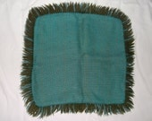 Vintage Mid Century FRINGED PILLOW COVER  • 14 inches plus fringe • Spun Rayon & Wool Tassels