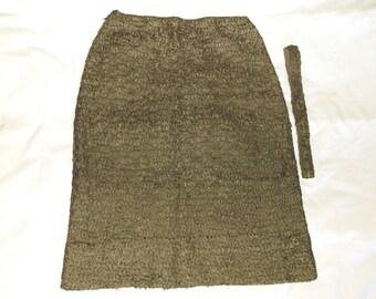 Vintage ANN FLEISCHER Ribbon Skirt & Belt • ECRU • small flaw