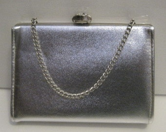 Silver Purse with Jeweled Tilt Clasp and Chain Link Handle