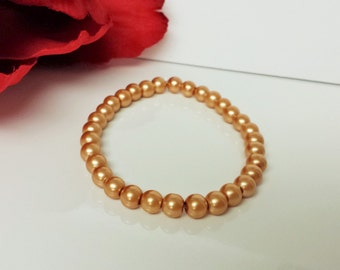 Toasted Almond 6mm Glass Pearl Bracelet for Bridesmaid, Flower Girl or Prom