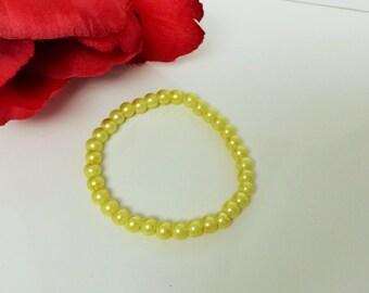 Lemon Yellow 6mm Glass Pearl Bracelet for Bridesmaid, Flower Girl or Prom
