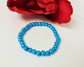 Cyan Blue 6mm Glass Pearl Bracelet for Bridesmaid, Flower Girl or Prom