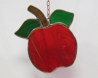 Stained Glass Red Apple Suncatcher