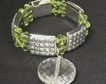 Green and Silver Stretch Bling Bracelet