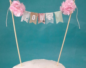 "Shabby chic cake banner, Pink first Birthday cake topper, ""One"" I301 - rustic burlap cake topper"