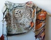 Felted Shawl Silk Shawl Hand Painted Owl Spirit Animal Custom Order