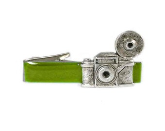 Antique Silver Vintage Camera Inlaid in Hand Painted Green Enamel Tie Clip Flash Photography with Color Options