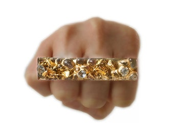Knuckle Ring Adjustable Ring with Swarovski Crystals and Chunky Recycled Glass Faux Druzy Inspired Inlaid in Gold Resin