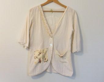 Tea Stained Cotton Jacket, Shabby Chic Blazer, Cottage Chic,Boho, Vintage, Cream Lace Feminine, Eco Earth Friendly, Upcycled Clothing SM/MED