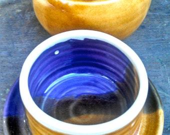 French Butter Crock, French Butter Dish, Butter Crock, Butter Dish,Pottery Butter Dish,Purple Butter Dish,Golden Amber pottery,Ready to Ship