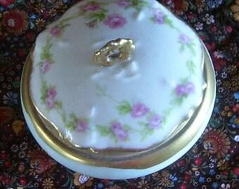 Bavarian Gold Trimmed Jewelry Vanity Jar, Trinket Jar, Made in Bavaria, Boudoir,  Porcelain Vanity Jar, Elegant Vanity Jar, Powder Jar,