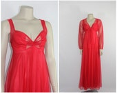 Red 1970s Vintage Night Gown - RED Nylon  Semi Sheer Long Gown with Short Jacket