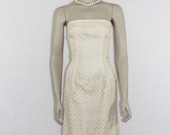 1950's Vintage Wedding Dress - Ivory Strapless Embroidered Short Bridal Dress
