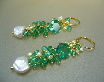 Emerald Quartz Pearl Wire Wrapped Gold Cluster Earrings