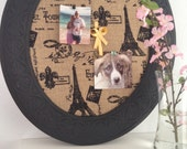 Black Framed Corkboard or Jewelry Display Holder French Themed Fabric Magnetic or Cork