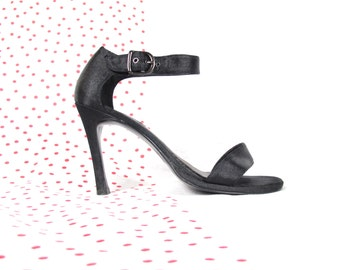 25% OFF SALE 90s Black Strappy Heels Minimalist High Heels Black Satin Heels Ankle Strap Heels Party Stilettos Open Toe Sandals (7.5)