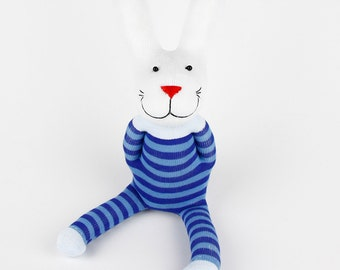 Kids Toys Gift Handmade Blue Stripe Sock Rabbit Bunny Stuffed Animal Doll Baby Toys