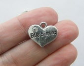 4 Big sister charms antique silver tone M411