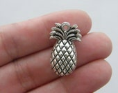 4 Pineapple charms antique silver tone FD214